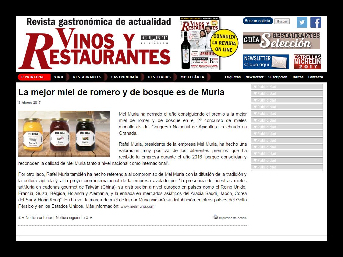 Web revista Vinos y restaurantes